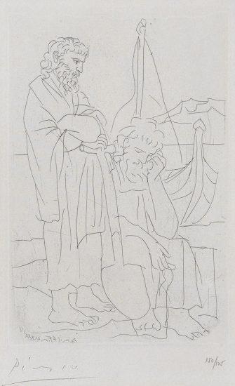 Pablo Picasso Lithograph, Deux vieillards et voilier (Two Old Men and a Ship), Pl. 4 from Lysistrata, 1934