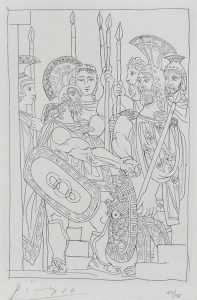 Pablo Picasso Etching, Accord entre les Guerriers de Sparte et d'Athènes (Agreement between the Warriors of Sparta and Athens), Pl. 5 from Lysistrata, 1934