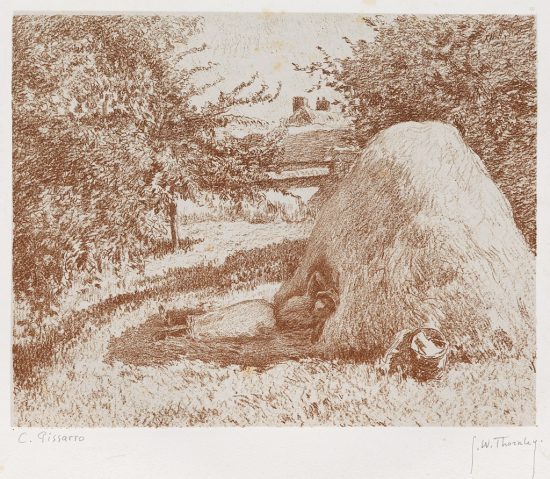 Camille Pissarro Lithograph, L'Abri de la meule de foin (The Shelter of the Haystack), c. 1900