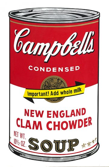 Andy Warhol Screen Print, New England Clam Chowder, from Campbell's Soup II, 1969