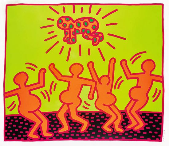 Keith Haring Screen Print, Fertility Untitled 1, from the Fertility Suite, 1983