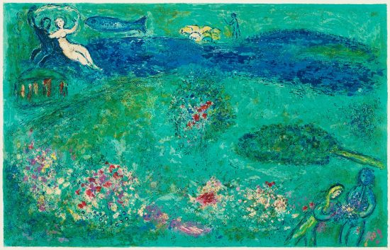 Marc Chagall Lithograph, Le Verger (The Orchard), from Daphnis et Chloé, 1961
