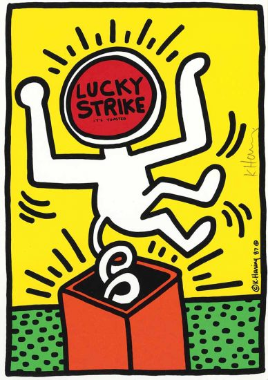 Keith Haring Silkscreen, Lucky Strike (Plate 3), from the Lucky Strike Portfolio, 1987