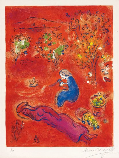 Marc Chagall Lithograph, A Midi, l'Été (Noon, in summer), from Daphnis et Chloé, 1961