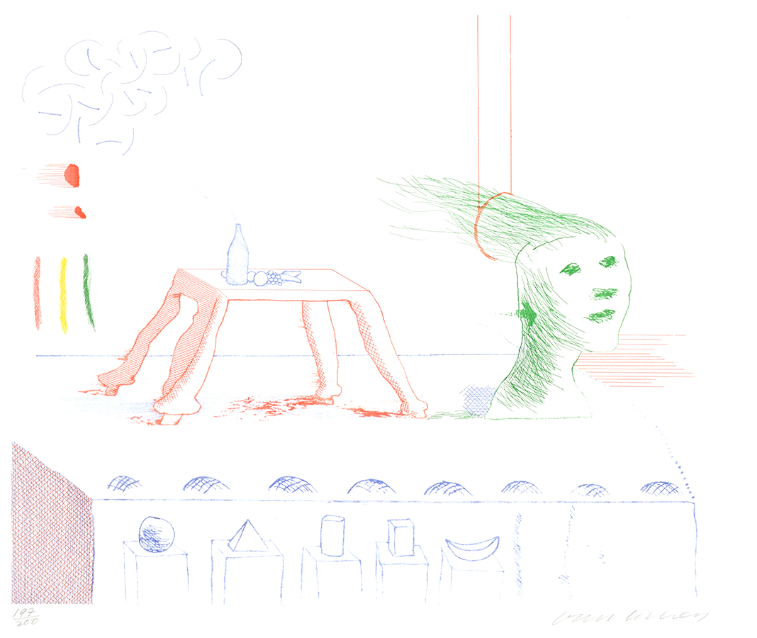 David Hockney Etching A Moving Still Life, from The Blue Guitar, 1976-1977 for sale -