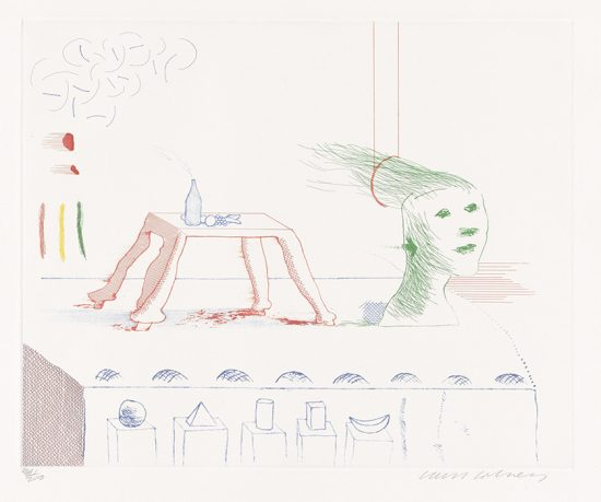 David Hockney Etching, A Moving Still Life, from The Blue Guitar, 1976-1977