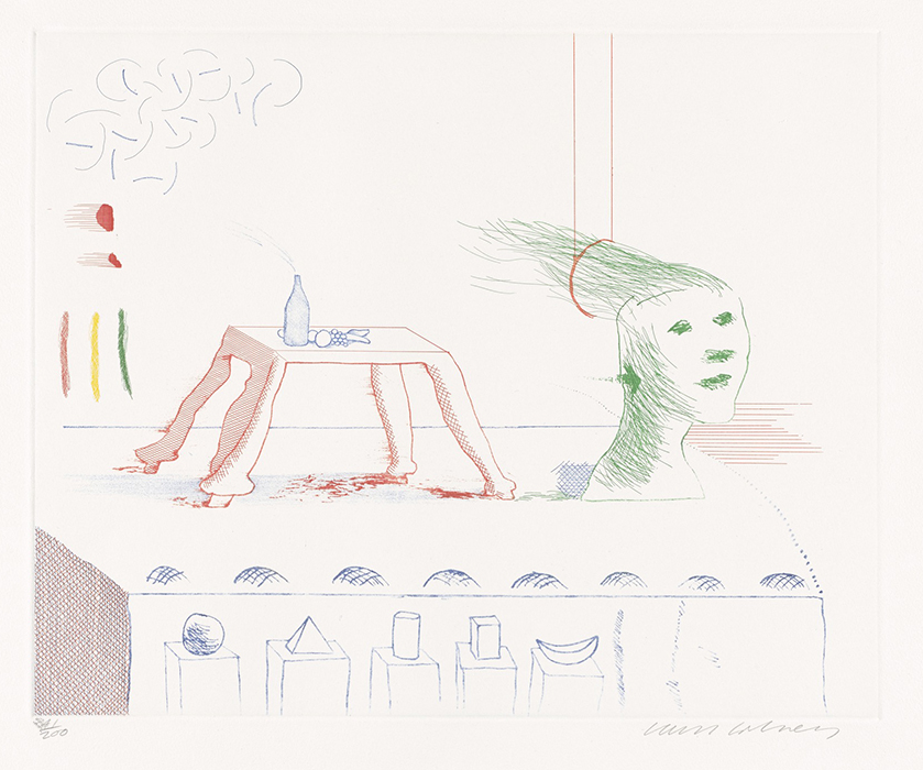 Hockney Etching A Moving Still Life, from The Blue Guitar, 1976-1977 for sale