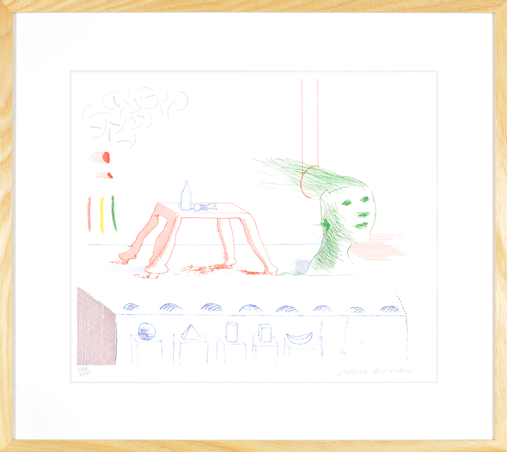 David Hockney Etching A Moving Still Life, from The Blue Guitar, 1976-1977 frame