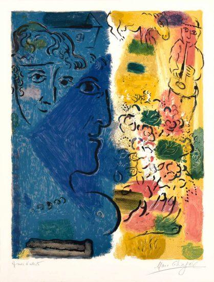 Marc Chagall Lithograph, Affiche d'Exposition (Profil bleu), 1967