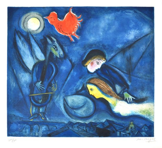 Marc Chagall Lithograph, Aleko and his wife Zemphira from an Old Russian Tale, 1955
