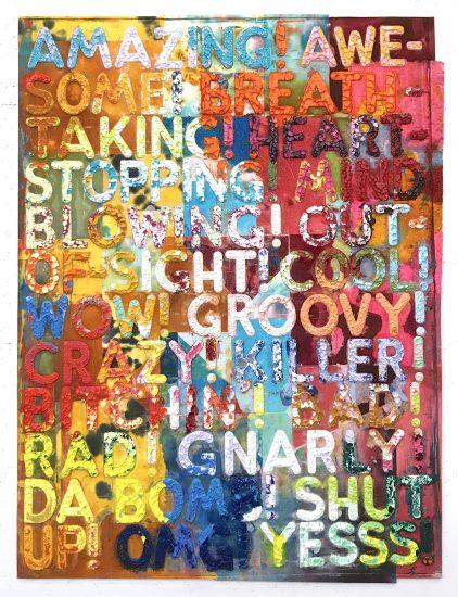 Mel Bochner Monoprint, Amazing, 2018