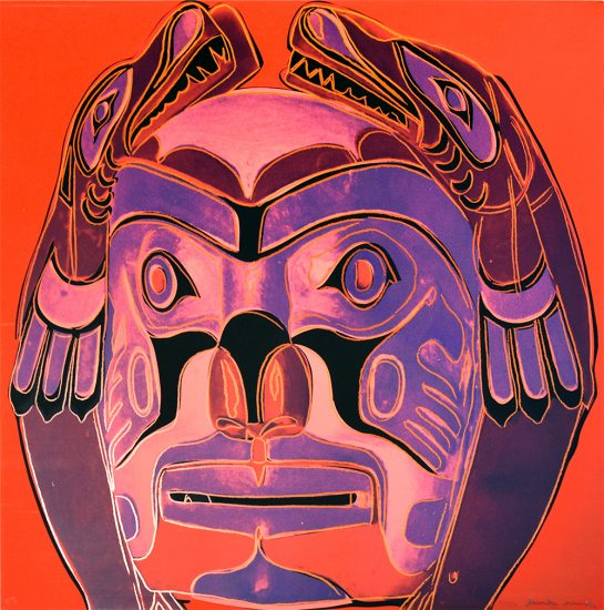 Andy Warhol Lithograph, Andy Warhol Northwest Coast Mask, 1986 from Cowboys and Indians, Unique Trial Proof 1986
