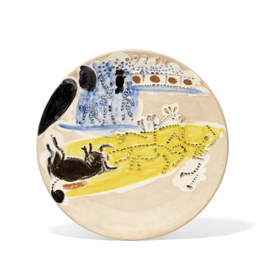 Pablo Picasso Ceramic, Arrastro, from Service Scènes de Corrida (Set of 7 plates), 1959