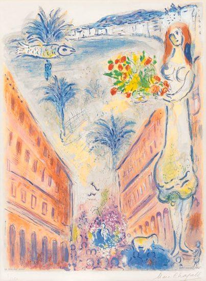 Marc Chagall Lithograph, Avenue De La Victoire At Nice, Plate VI, from Nice et la Côte d'Azur, 1967