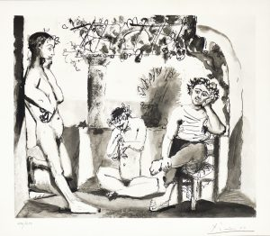 Pablo Picasso Etching, Bacchanale, 1955