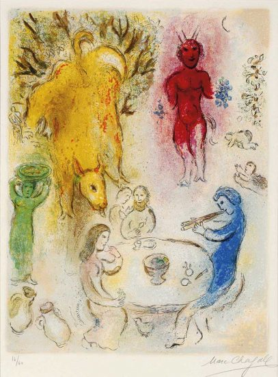 Marc Chagall Lithograph, Banquet de Pan (Pan's Banquet), from Daphnis et Chloé, 1961