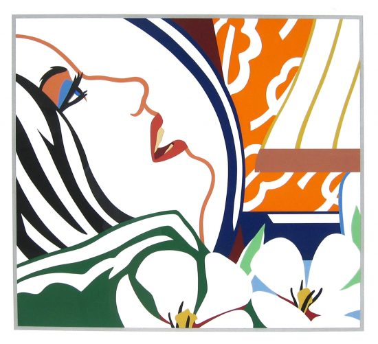 Tom Wesselmann Silkscreen, Bedroom Face with Orange Wallpaper, 1987