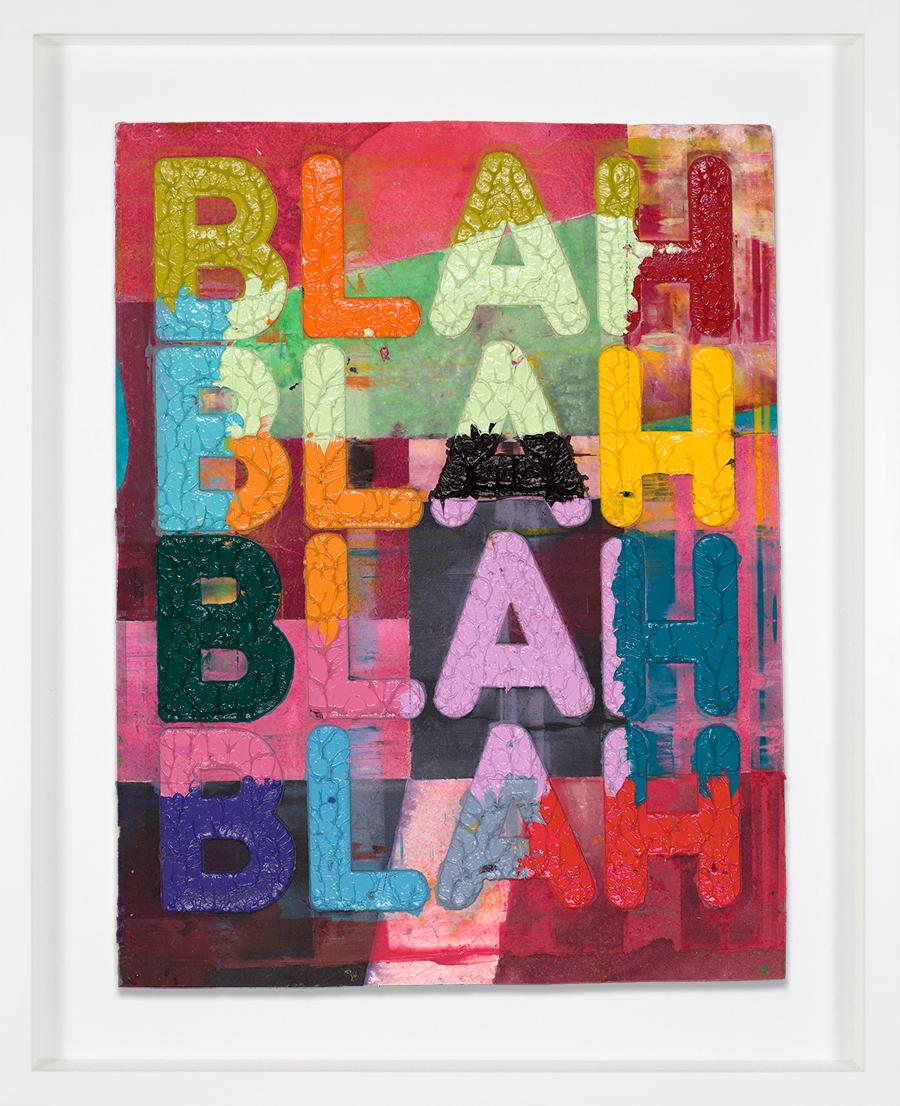 Bochner monorprint Blah Blah Blah 2018 white frame