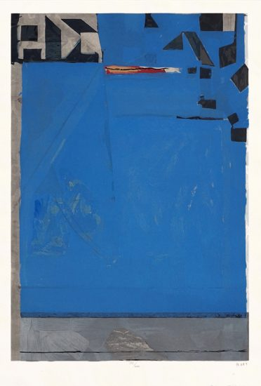 Richard Diebenkorn Woodcut, Blue with Red, 1987