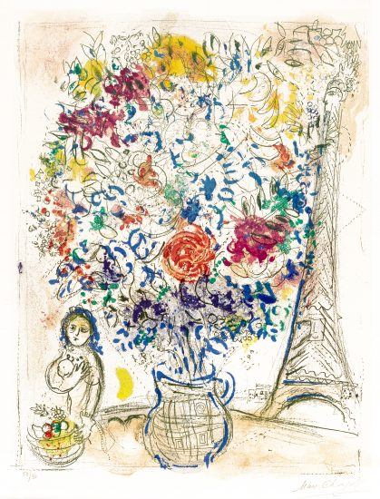 Marc Chagall Lithograph, Bouquet à la Tour Eiffel (Bouquet with Eiffel Tower), 1958