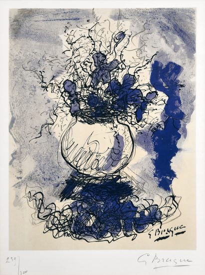 Georges Braque Lithograph, Bouquet de Fleurs à L'aquarelle (Bouquet of Flowers), 1957