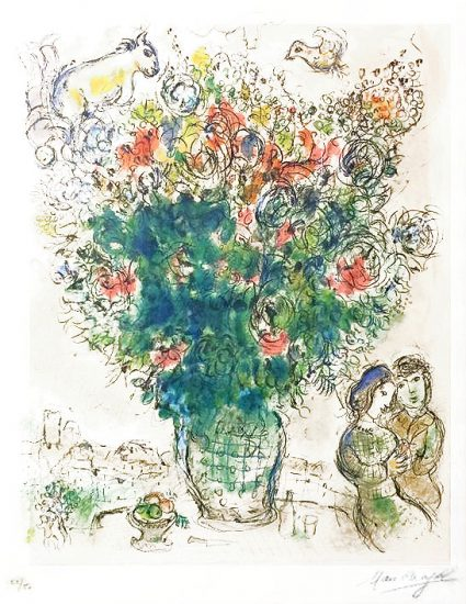 Marc Chagall Lithograph, Bouquet Multicolore (Multicolored Bouquet), 1975
