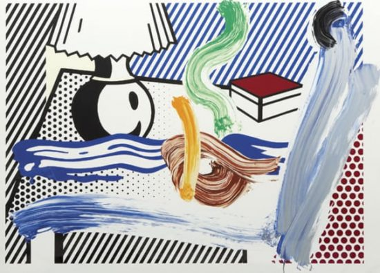 Roy Lichtenstein Screen Print, Brushstroke Still Life with Lamp, 1997