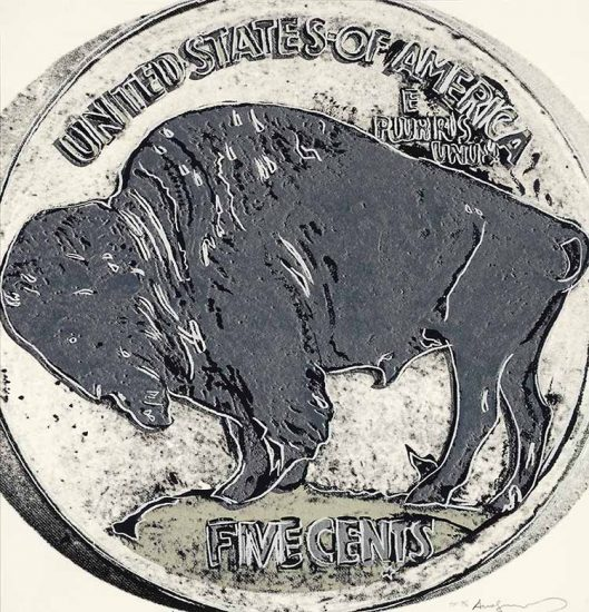 Andy Warhol Screen Print, Buffalo Nickel, from the Cowboys and Indians Series, 1986