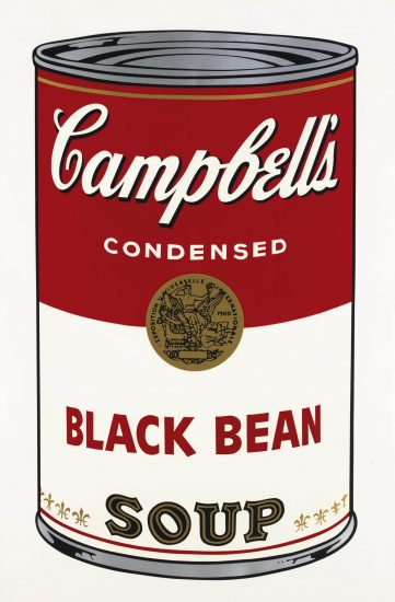 Andy Warhol Screen Print, Black Bean, Campbell's Soup I, 1968