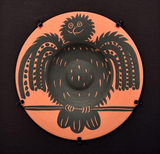 Pablo Picasso Ceramic, Ceramic Perched Black Owl (Hibou Noir Perche), 1957 A.R. 398