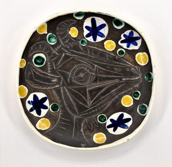 Pablo Picasso Ceramic, Tete de chevre de profil (Goats head in Profile) Unique color Variant, 1952, A.R 154