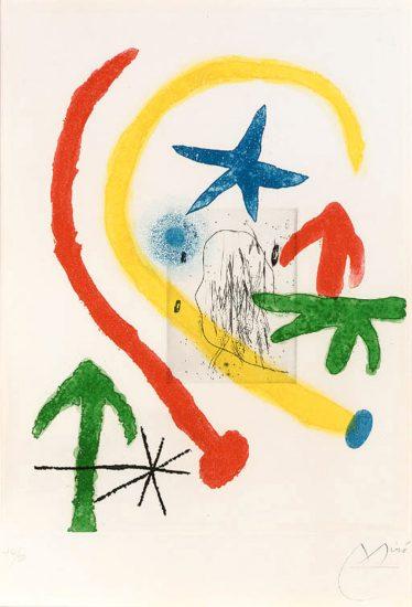 Joan Miró Lithograph, Chemin de Ronde II (Round Path II), 1966