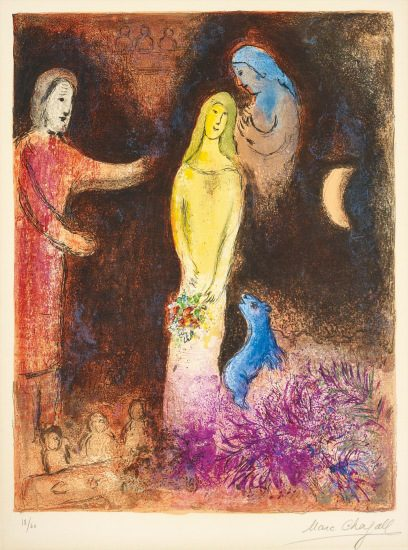 Marc Chagall Lithograph, Chloé vétue et coiffée par Cléariste (Chloe is dressed and braided by Cleariste), from Daphnis et Chloé, 1961