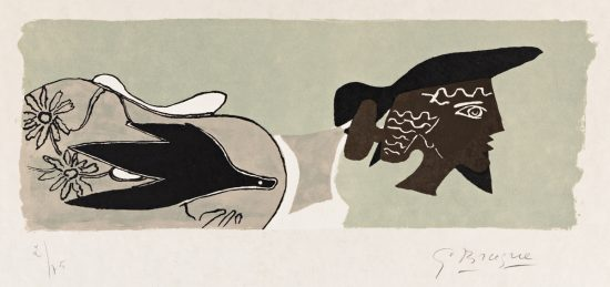 Georges Braque Lithograph, Cinq Poésies en Hommage à Georges Braque (Five Poems in Homage to Georges Braque), 1958