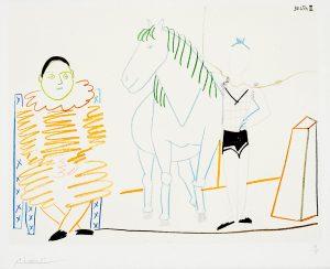 Pablo Picasso Lithograph, Clown et écuyère (Clown and Horseman), from Verve Nos 29-30, 1954