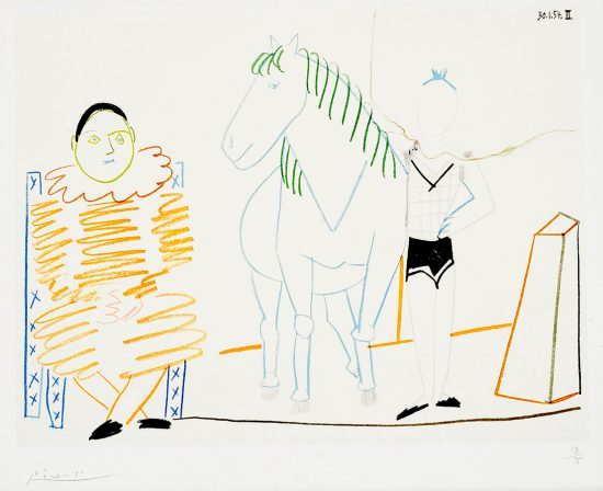 Pablo Picasso Lithograph, Clown et écuyère (Clown and Horseman), from Verve Nos 29-30, 1954