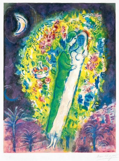 Marc Chagall Lithograph, Couple dans Mimosa (Couple in Mimosa), from Nice and the Côte d'Azur, 1967