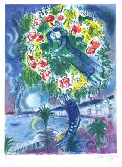 Marc Chagall Lithograph, Couple et Poisson (Couple and Fish), From Nice and the Cote d'Azur, 1967