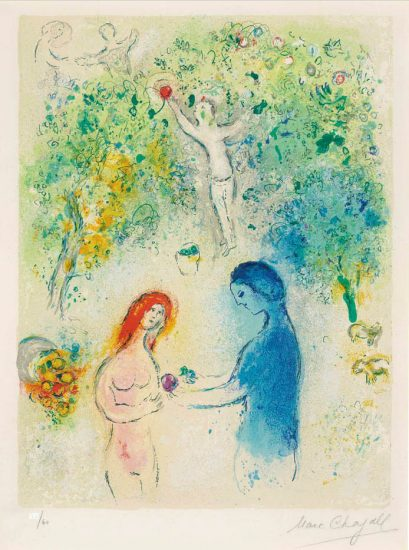 Marc Chagall Lithograph, Daphne et Chloé (Daphne and Chloe), Frontispiece, from Daphnis et Chloé, 1961
