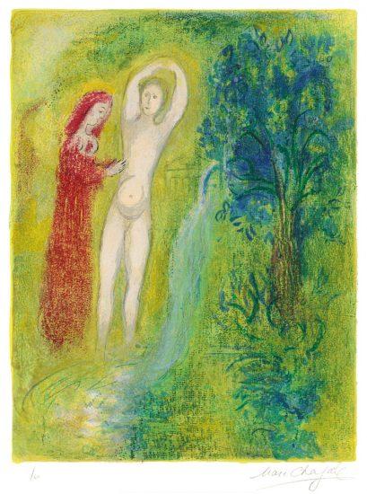 Marc Chagall Lithograph, Daphnis et Chloé au Bord de la Fontaine (Daphnis and Chloe at the Edge of the Fountain), from Daphnis et Chloé, 1961