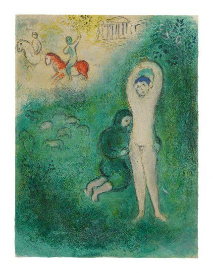 Marc Chagall Lithograph, Daphnis et Gnathon (Daphnis and Gnathon), from Daphnis et Chloé, 1961