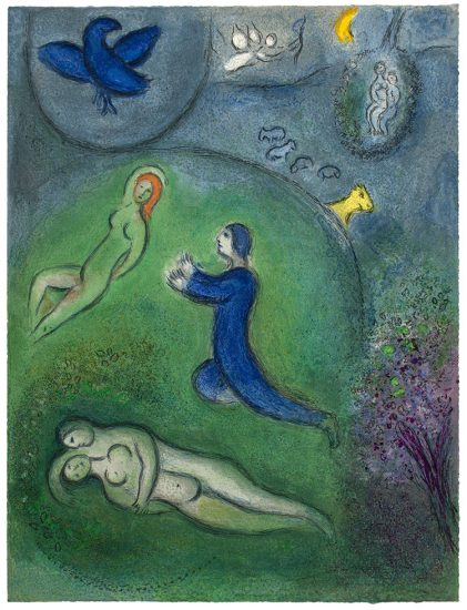 Marc Chagall Lithograph, Daphnis et Lycénion (Daphnis and Lycenion), from Daphnis et Chloé, 1961