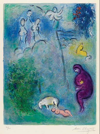Marc Chagall Lithograph, Découverte de Chloé par Daphnis (Discovery of Chloé by Daphnis), from Daphnis et Chloé, 1961