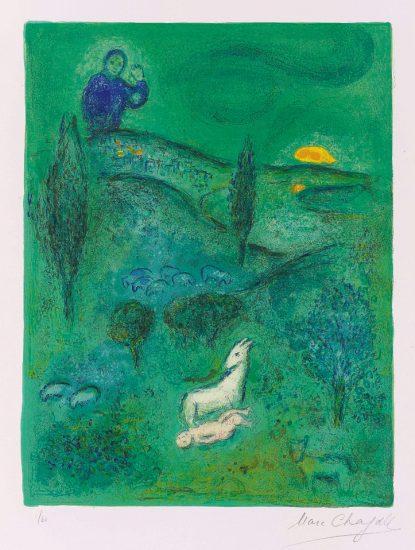 Marc Chagall Lithograph, Découverte de Daphnis par Lamon (Discovery of Daphnis by Lamon), from Daphnis et Chloé, 1961