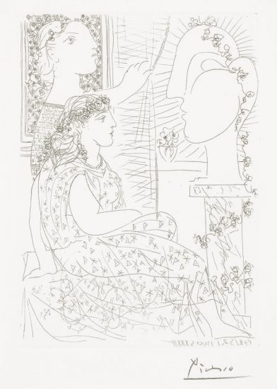 Pablo Picasso Etching, Deux Femmes Regardant une Tete Sculptée (Two Women looking at a Sculpture Head) from the Vollard Suite, 1933