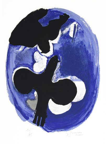 Georges Braque Lithograph, Deux oiseaux sur fond bleu (Two birds on a blue background), 1955