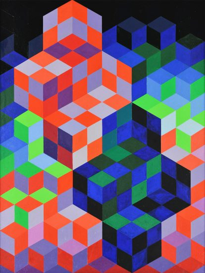Victor Vasarely Painting, Duo-2, 1967