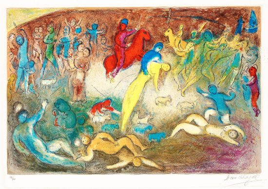 Marc Chagall Lithograph, Enlévement de Chloé (Chloe is carried off by the Methymneans) from Daphnis and Chloé, 1961