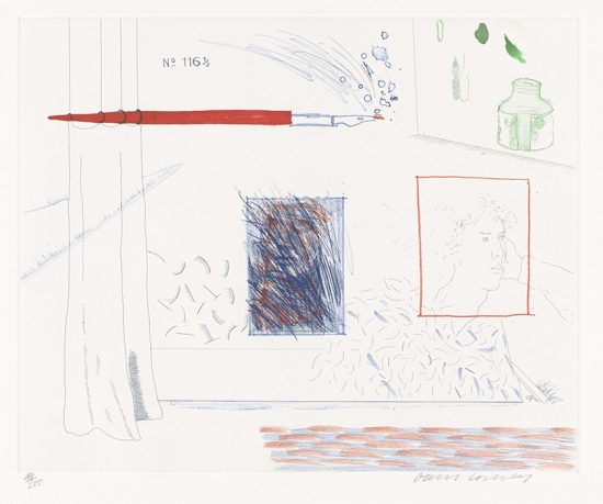 David Hockney Etching, Etching is the Subject, 14, The Blue Guitar, 1976-1977