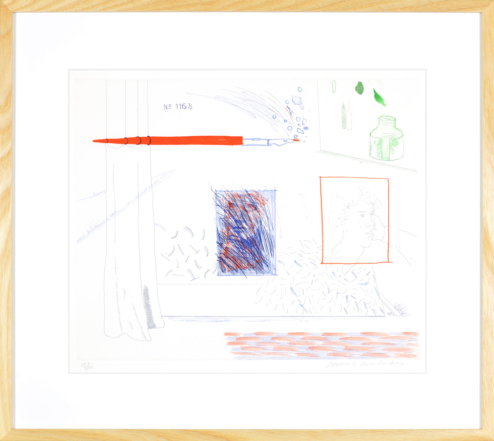 Hockney Etching Etching is the Subject, 14, The Blue Guitar, 1976-1977 frame